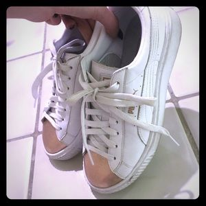 PUMA | White Gold Leather Basket Sneakers Size 8.5